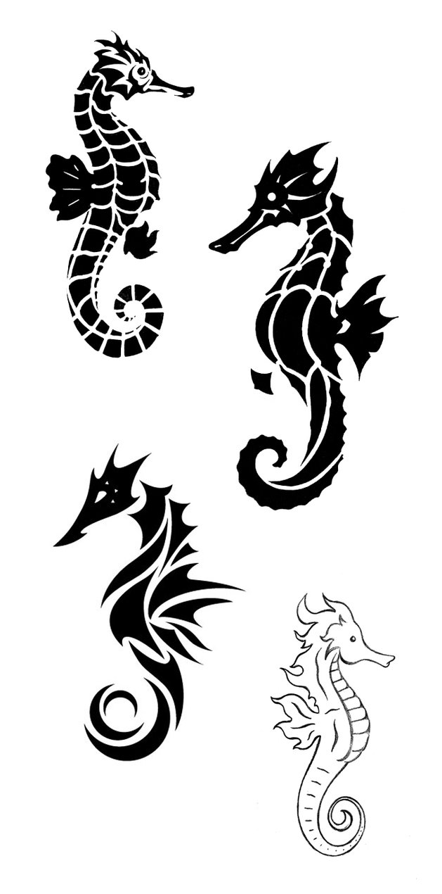 Black Ink Nice Sea Horse Tattoo Stencil
