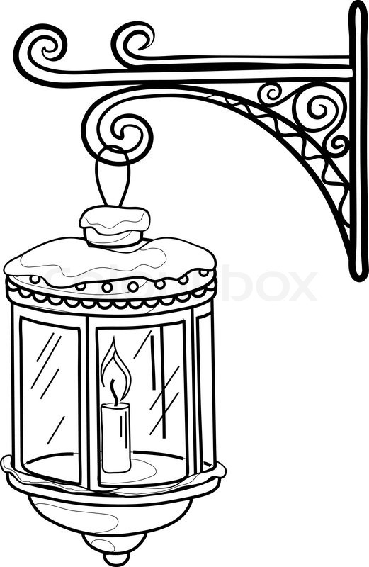 Black Ink Nice Sketch Of Antique Lantern Tattoo