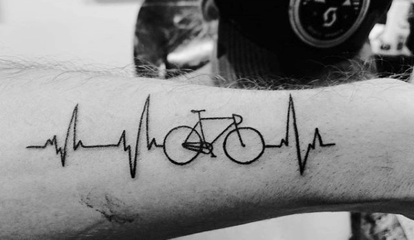 Black Ink Nice Small Bicycle And Heartbeat Tattoo Idea