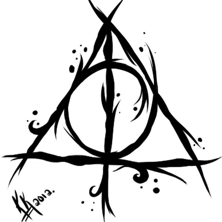 Black Ink Nice Stencil Hallows Tattoo