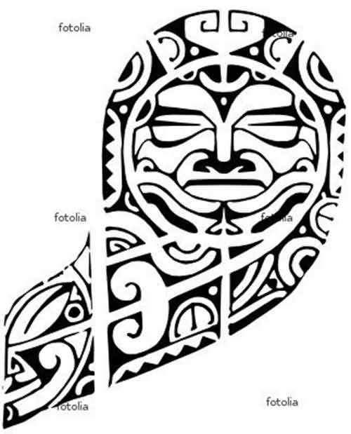 Black Ink Nice Stencil Of Samoan Tattoo