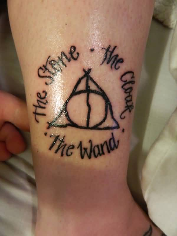 Black Ink Nice Text Hallows Tattoo