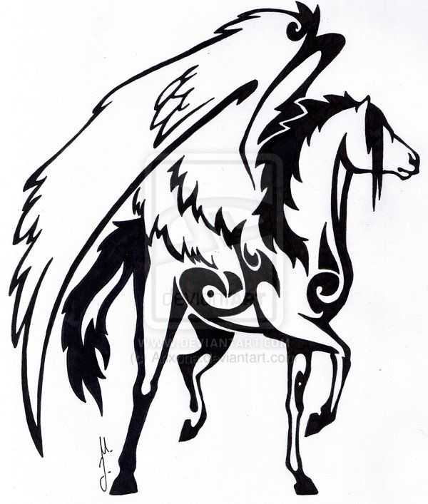 Black Ink Nice Tribal Style Pegasus Tattoo Design Stencil
