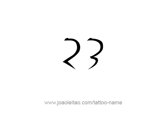 Black Ink Nice Twenty Three Number Tattoo Design