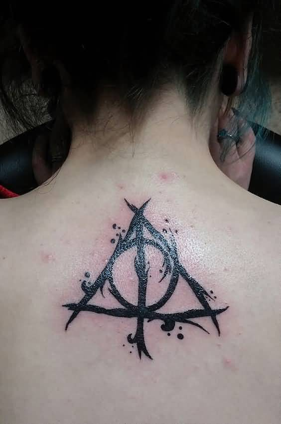 Black Ink Nice Upper Back Deathly Hallows Tattoo
