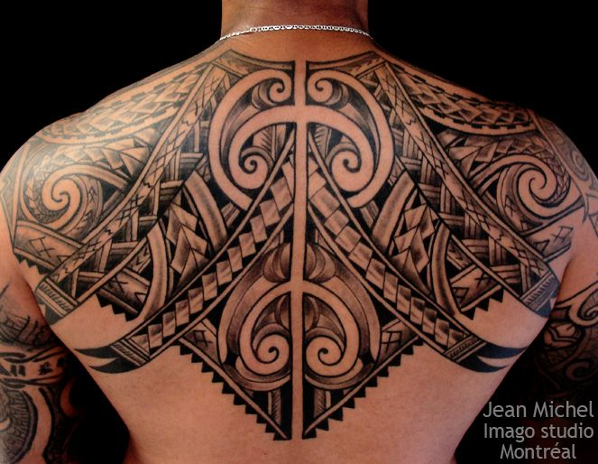 Black Ink Nice Upper Back Samoan Hawaiian Tattoo