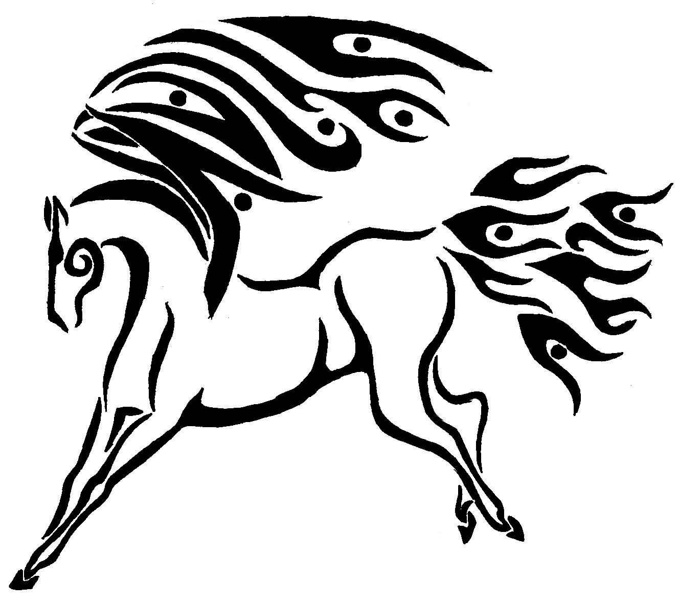 Black Ink Pegasus Tattoo Design Stencil