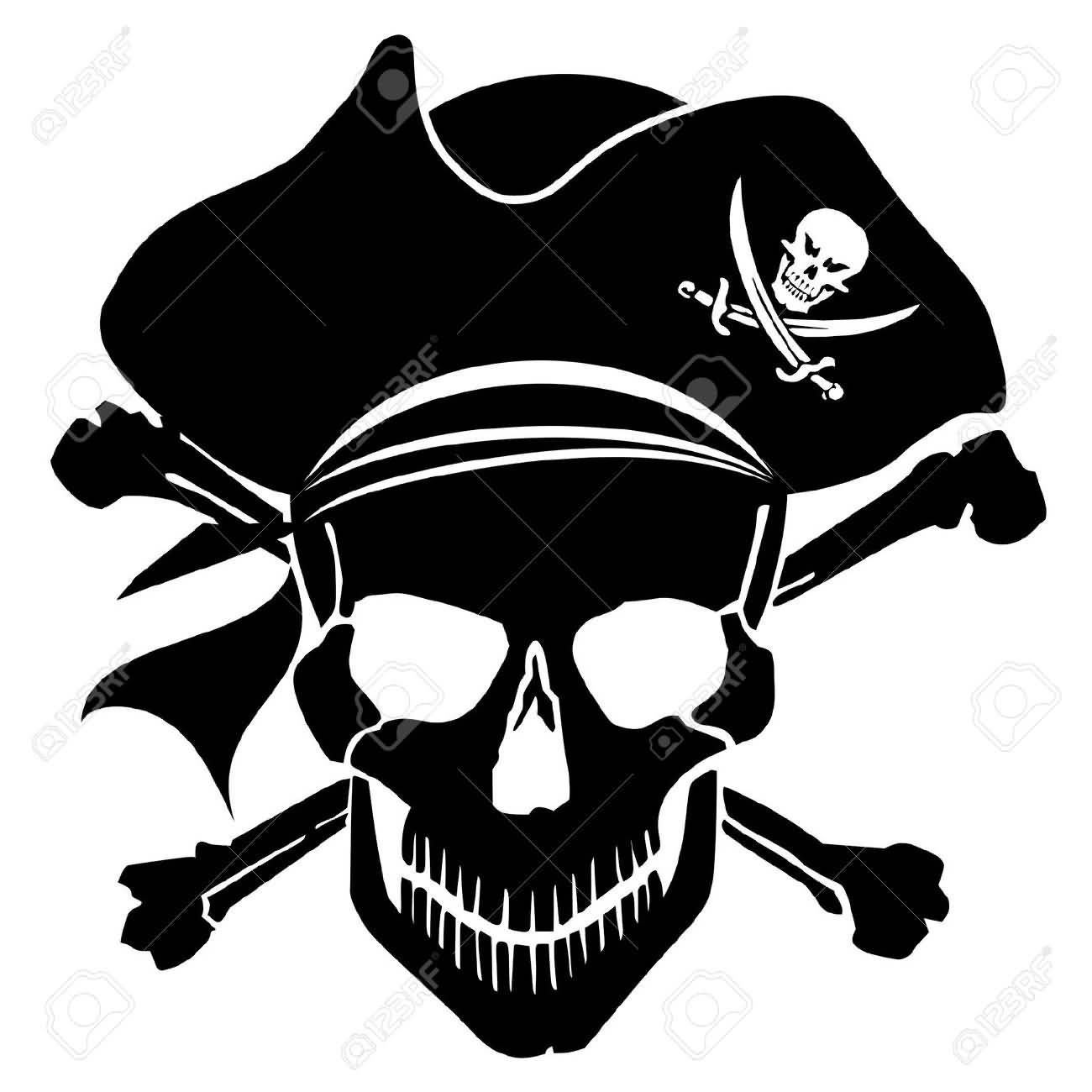 Black Ink Pirate Captain Jolly Roger Tattoo