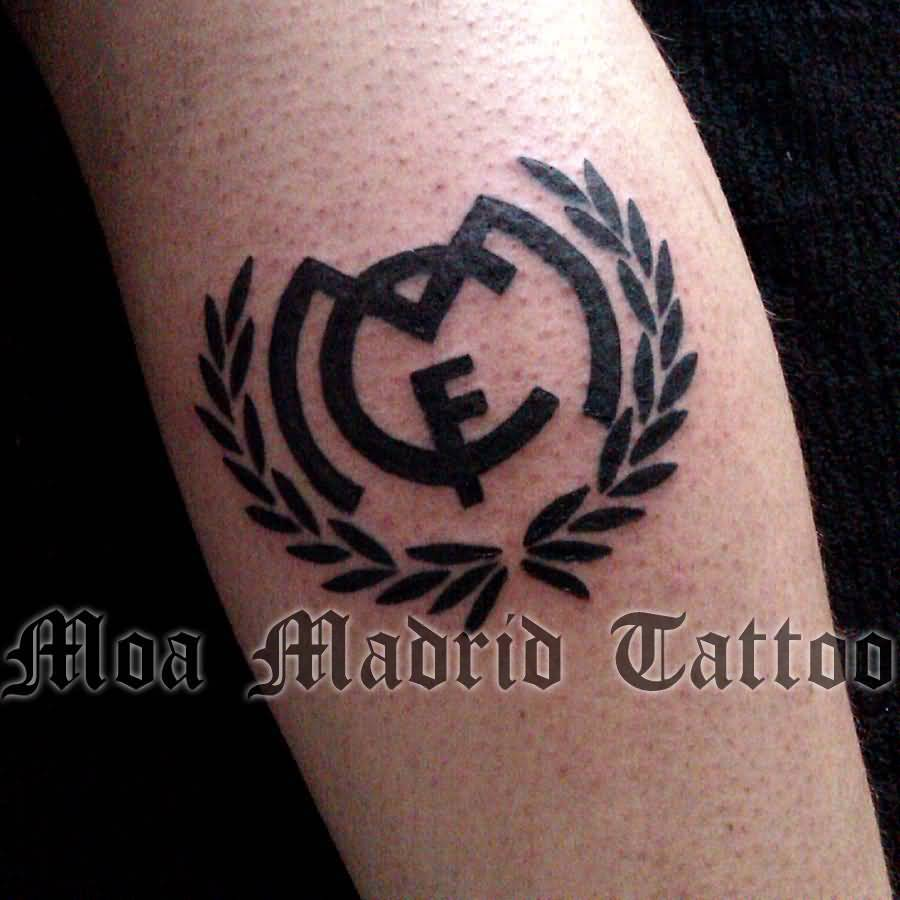 Black Ink Real Madrid Logo Tattoo Design