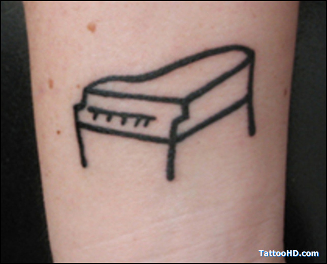 Black Ink Simple Grand Piano Tattoo
