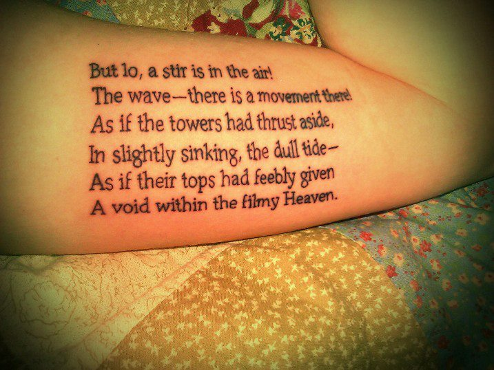 Black Ink Simple Poem Tattoo Design Idea