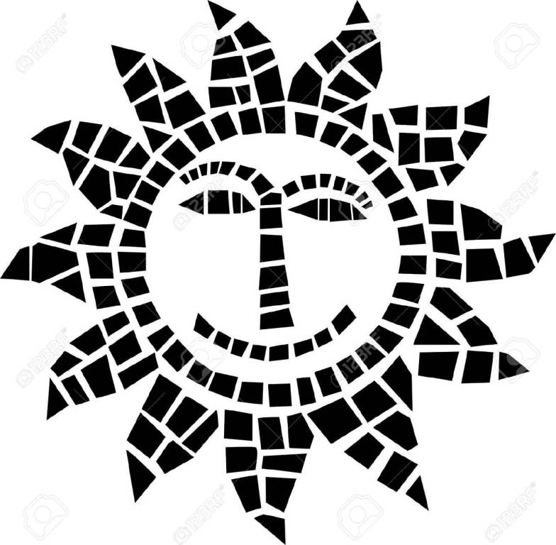 Black Ink Smiling Face Of Mosaic Sun Tattoo Stencil
