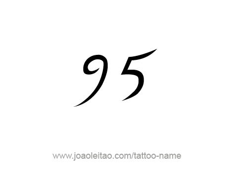 Black Ink Stencil Of Ninety Five Number Tattoo Design