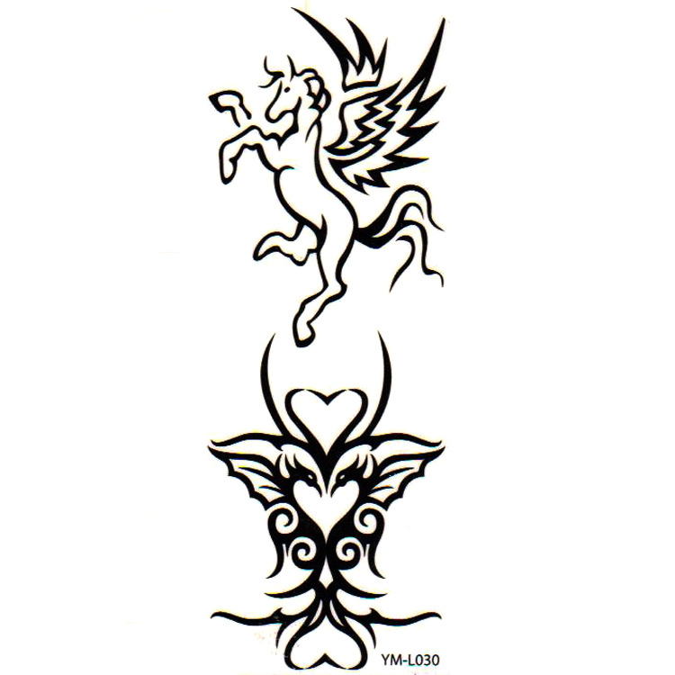 Black Ink Tribal Phoenix With Pegasus Logo Tattoo