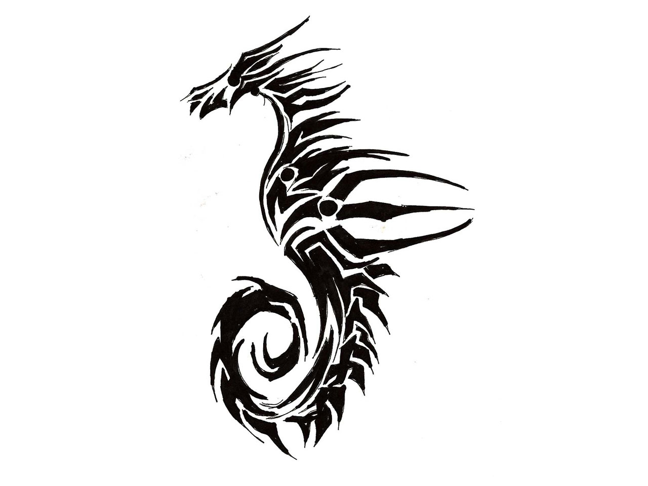 Black Ink Tribal Sea Horse Tattoo Stencil