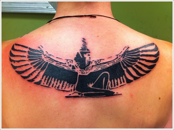 Black Ink Upper Back Egyptian Historical Girl Tattoo