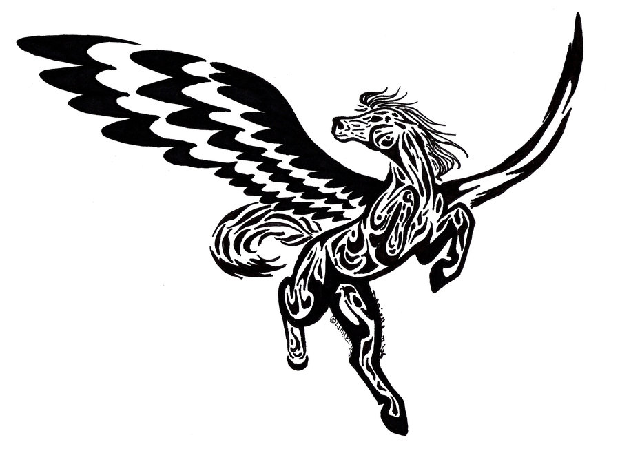 Black Ink flying Nice Pegasus Tattoo Design Idea