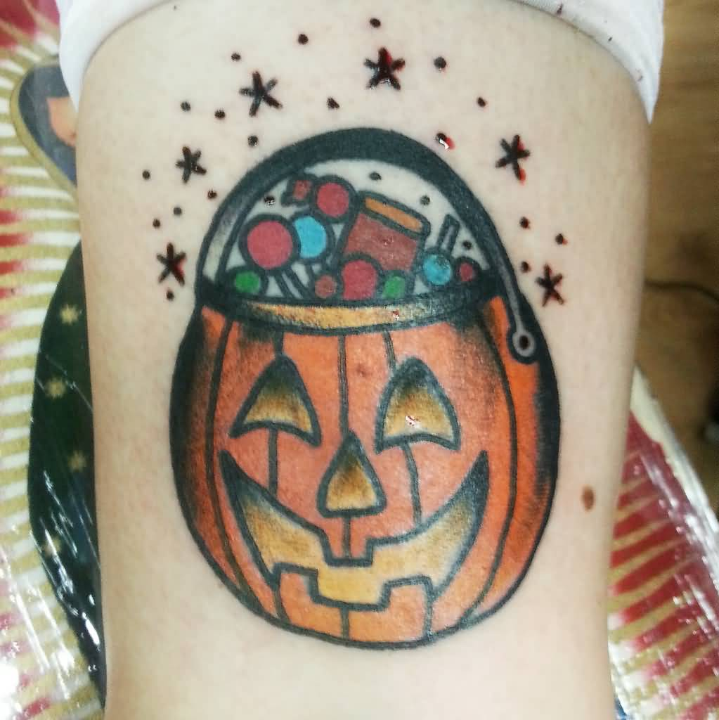 Black Stars Simple Jack O Lantern Tattoo