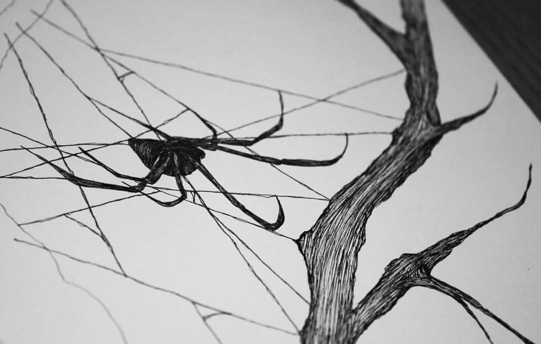 Black Widow On Tree Spider Web Tattoo Stencil