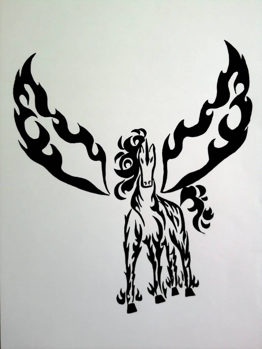 Black Wings Nice And Amazing Pegasus Tattoo Design Stencil