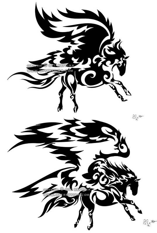 Blak Ink Amazing Design Of Nice Tribal Pegasus Tattoo Stencil