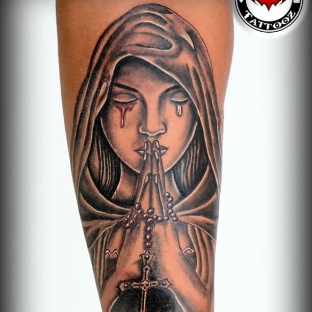 Bledding Crying Eyes Close Hands Praying Angel Tattoo