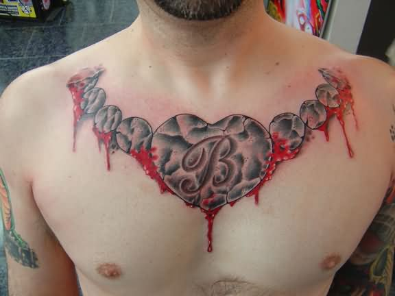 Bledding Necklace Heart Tattoo On Collarbone