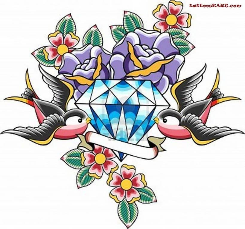 Blue Amazing Diamond With Nice Swallows Old School Tattoo Design