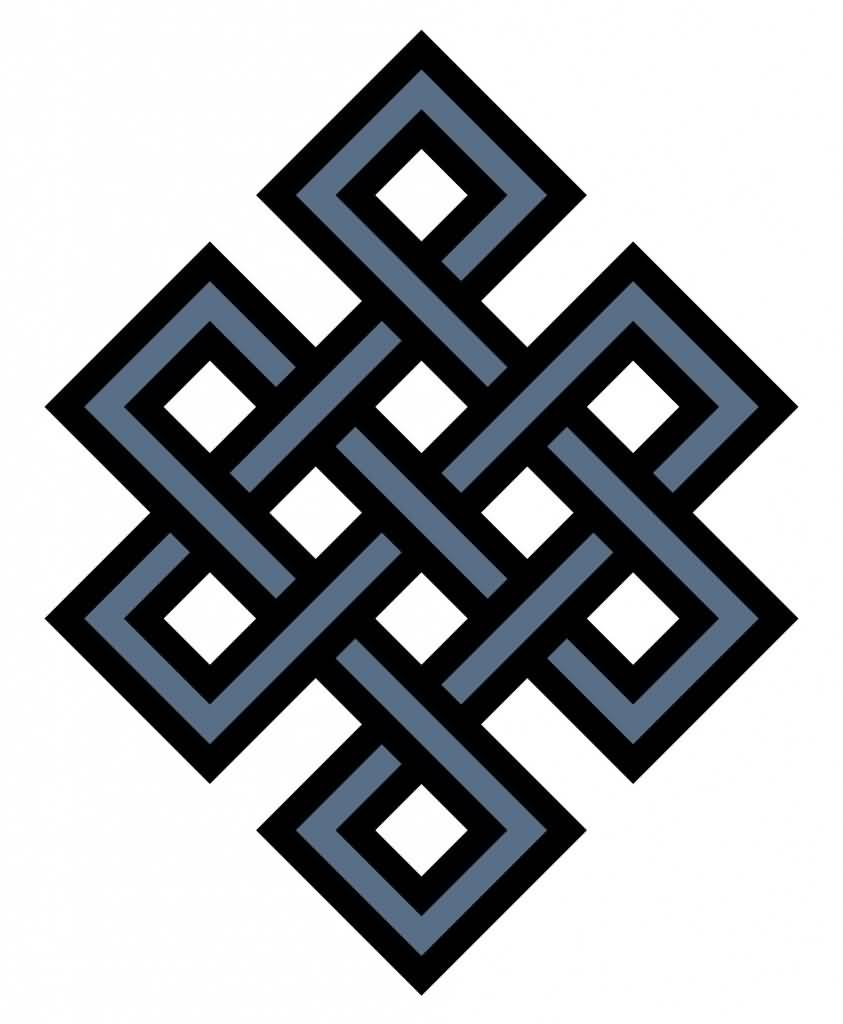 Blue And Black True Good Endless Knot Tattoo Design