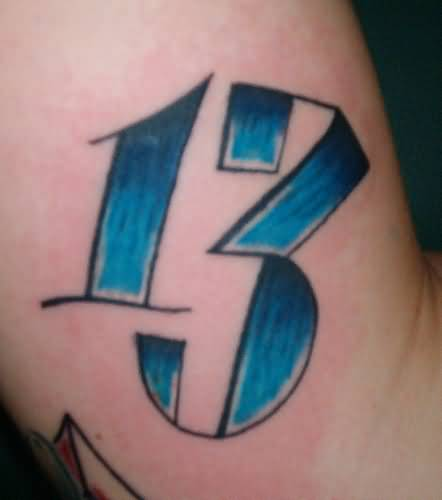 Blue Nice Thirteen Number Tattoo For Arm