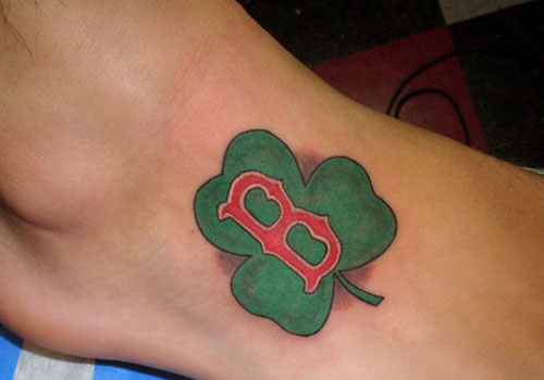 Boston Symbol With Nice Shamrock Tattoo Design For Girl Foot