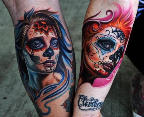Both Forearm Nice Catrina Girl Day Of The Dead Face Tattoo