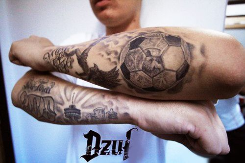 Both Lower Sleeve Amazing Text And Football Tattoo