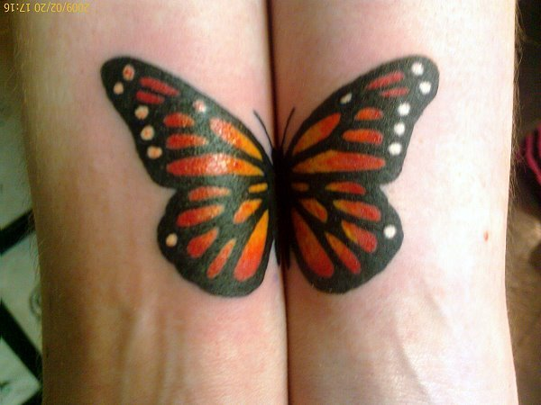 Both Wrist Cover Up With Nice Monarch Butterfly Tattoo