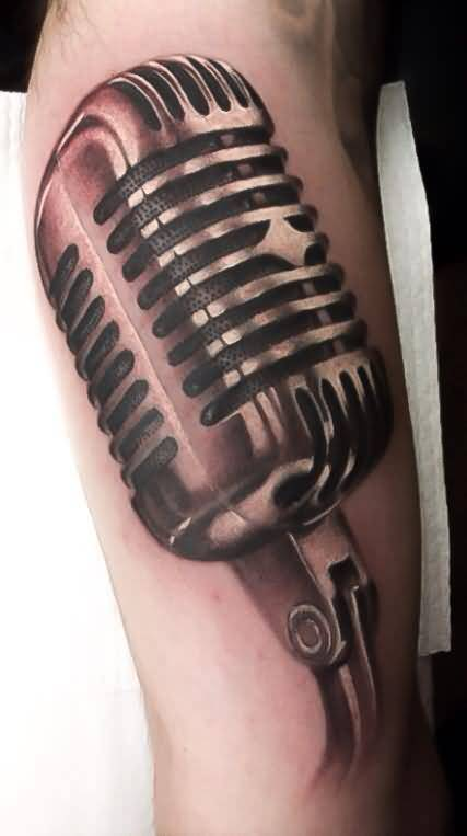 Brilliant 3D Old Microphone Tattoo On Arm Made By Levi Barnett