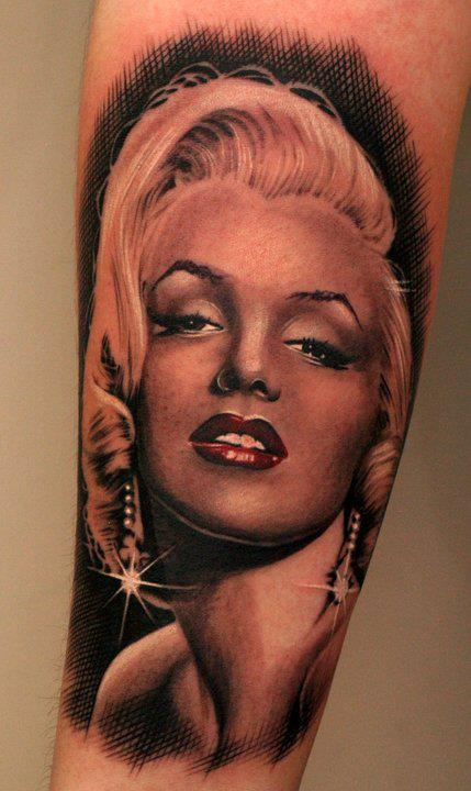 Brilliant And Awesome Look Marilyn Monroe Portrait Face Tattoo
