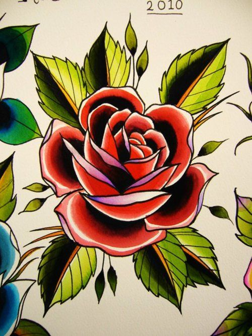 Brilliant Old School Red Rose Tattoo Stencil