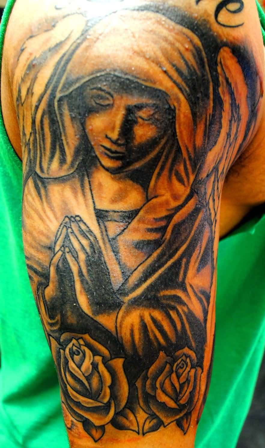 Brilliant Roses And Nice Half Sleeve Simple Praying Angel Tattoo
