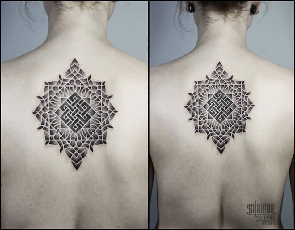 Brilliant Upper Back Mandala Awesome Endless Knot Tattoo