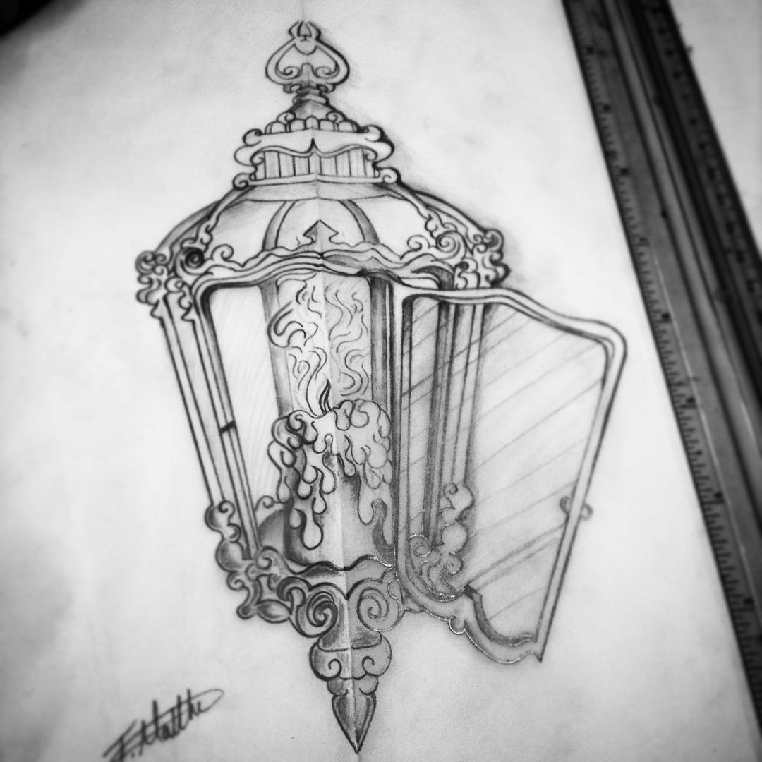 Burning Candle Antique Lantern Tattoo
