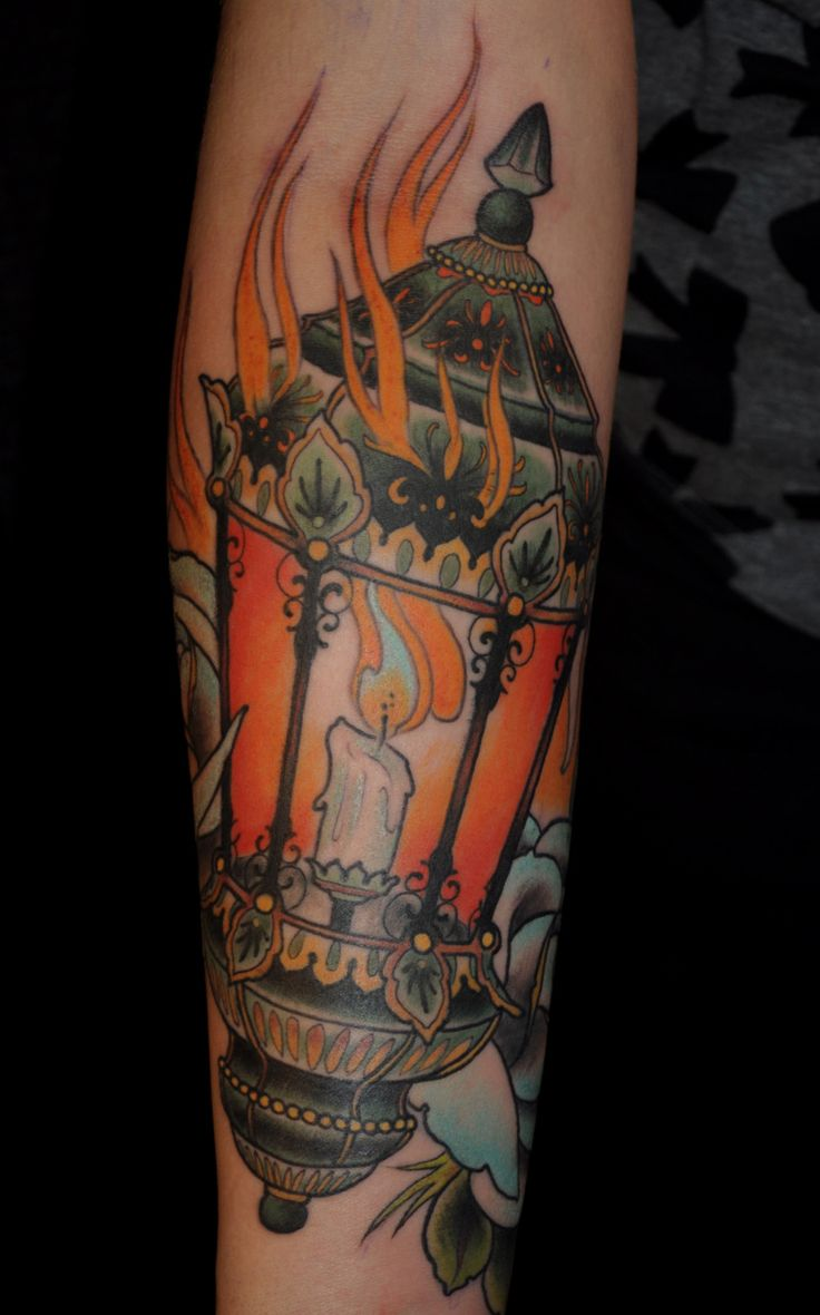 Burning Candle Lantern Tattoo