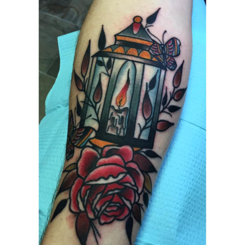 Burning Candle Nice Lantern Tattoo With Rose