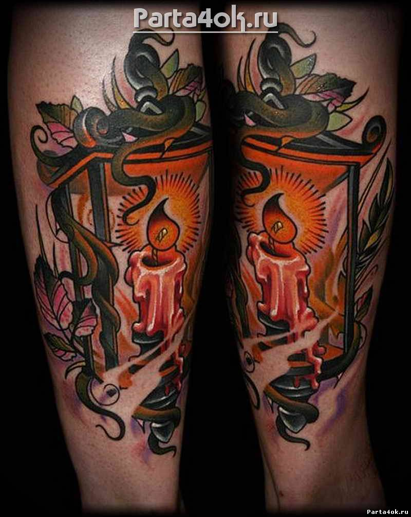 Burning Candle Old Staff Lantern Tattoo
