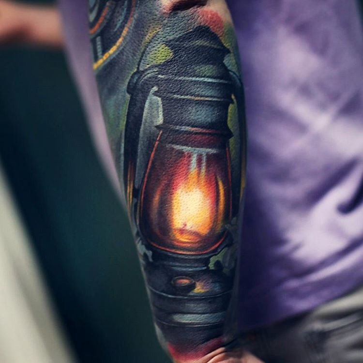 Burning Realistic Lantern Tattoo Design