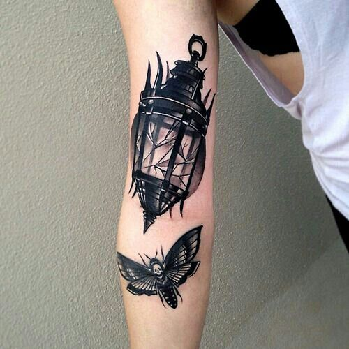 Butterfly Lower Sleeve Antique Lantern Tattoo