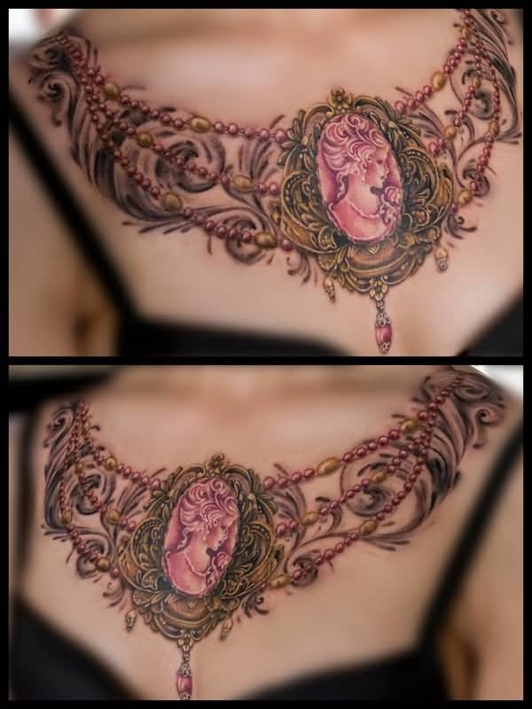 Cameo Style Amazing Necklace Chain Tattoo Design