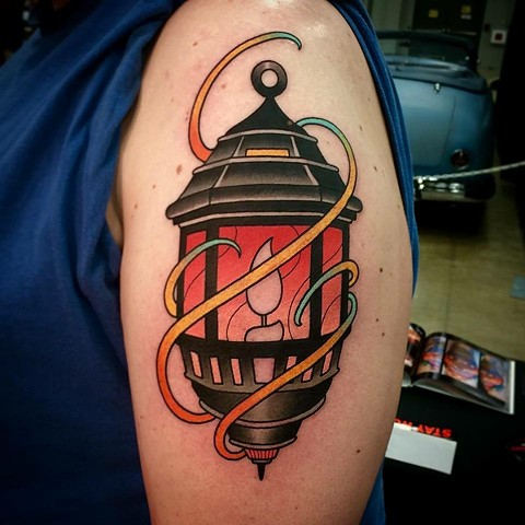 Candle Lantern Tattoo Design On Shoulder