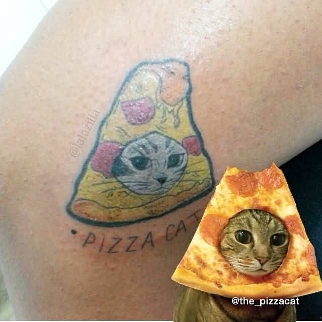 Cat Face In Nice Pizza Tattoo