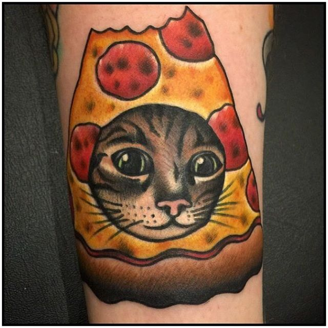 Cat Face In Pizza Tattoo