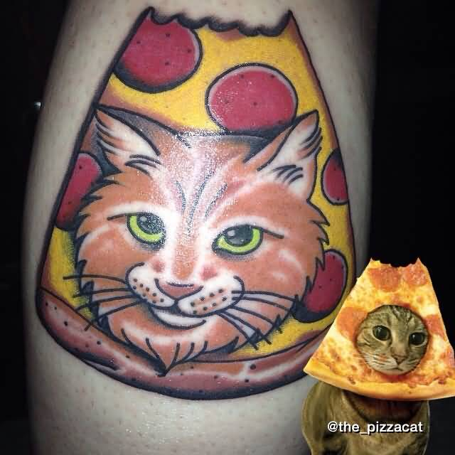 Cat Face Nice Pizza Tattoo